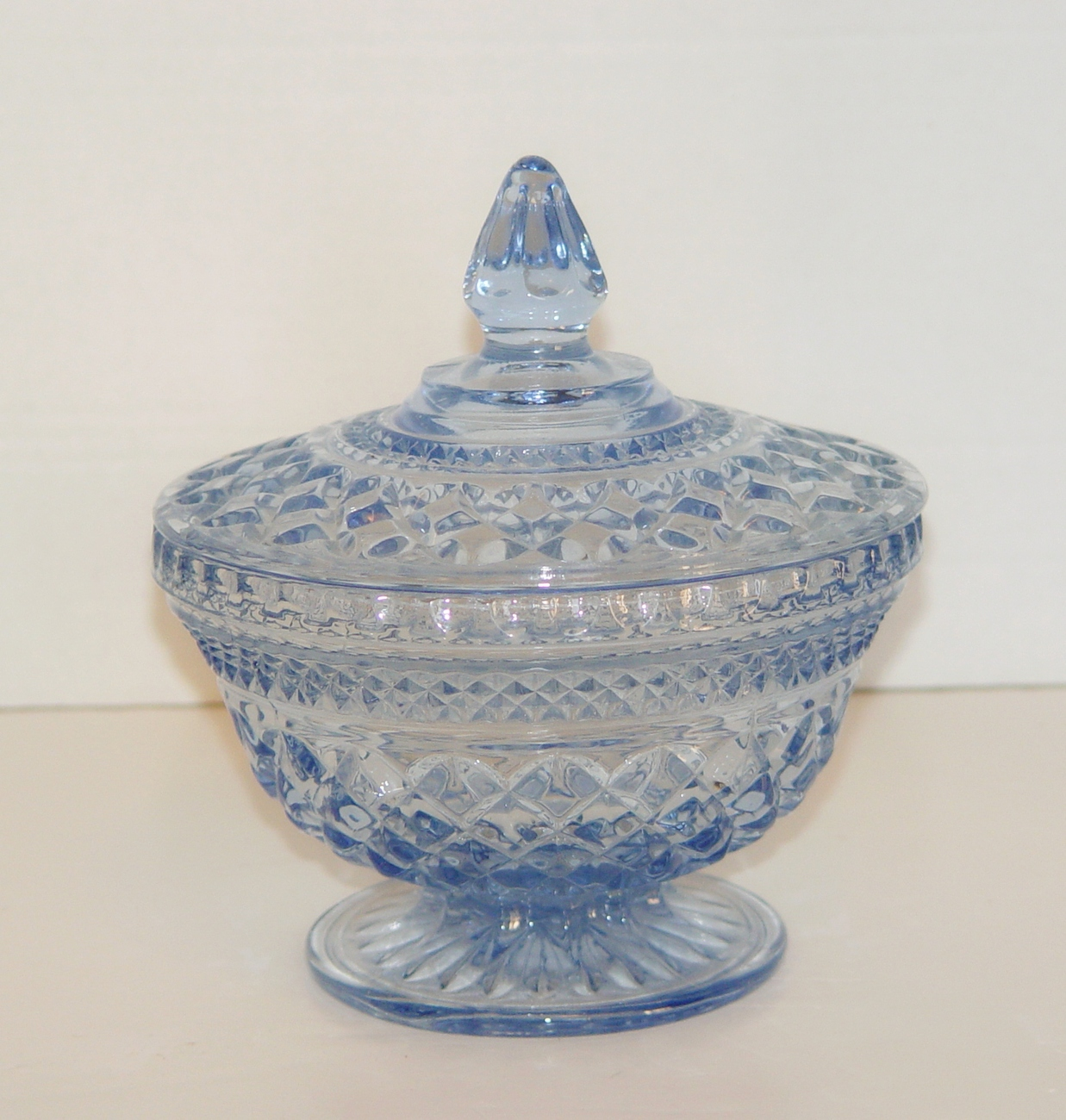 Primary image for Indiana Glass  Blue Crystal  Candy Dish with Lid: Vintage