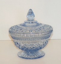 Indiana Glass  Blue Crystal  Candy Dish with Lid: Vintage - $26.90