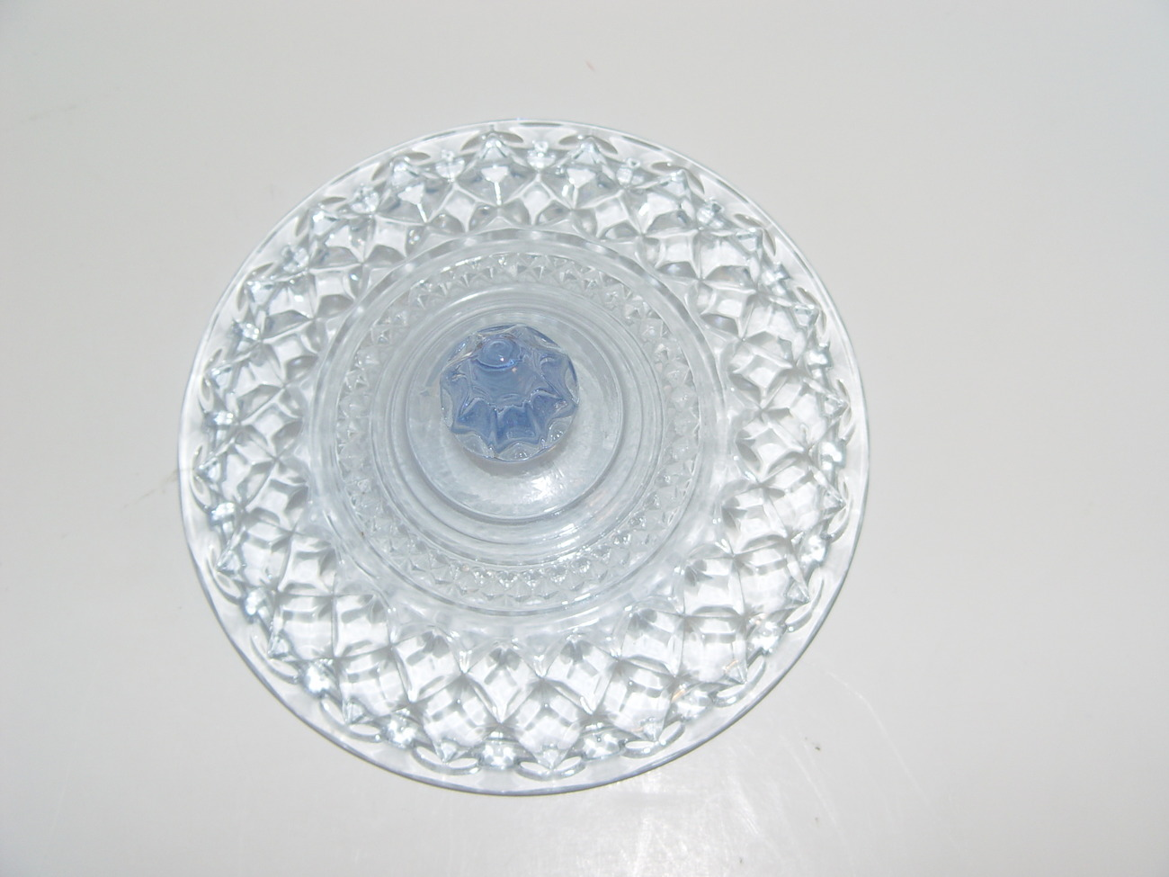 Indiana Glass  Blue Crystal  Candy Dish with Lid: Vintage
