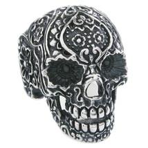 Stainless Steel Carved Garden Skull Men Biker Ring US Size 15 - $12.99