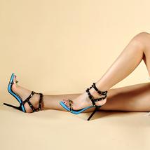 Palms Shoes Pink Summer Women Sandals Women Ankle Slin Heels Fashion Strap High qEOdExwn