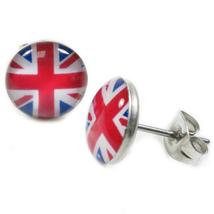 Pair Stainless Steel Round British Flag Post Stud Earrings 10mm - $7.49