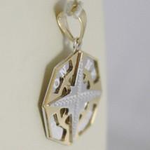 Pendentif en or Jaune Blanc 750 18K, Rose Des Vents , Boussole image 2