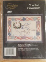 """New Golden Bee Counted Cross Stitch Kit Cat #60345 Embroidery Size 7""""x5"""" - $19.95"""