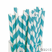 Turquoise Striped Paper Straws 24 Pack - $5.69