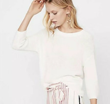 Express Cropped Knit Sweater Open Back Women S White lightweight Top - $15.83