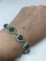 Vintage Jade Bracelet Deco Heart White Bronze White Gold plate Genuine S... - $64.35