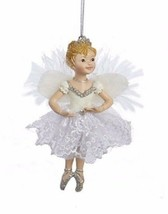 KSA WHITE & SILVER LITTLE BLONDE BALLERINA w/ANGEL WINGS ON POINTE XMAS ... - $9.88