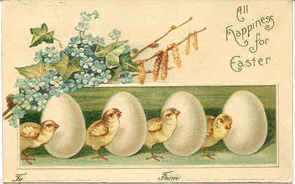 Wishing All Happiness For Easter Vintage Post Card