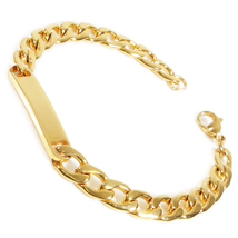 "Stainless Steel Gold Color Curb Chain Polish ID Bracelet 8mm 7.7"" - $14.50"