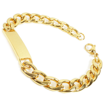 "Stainless Steel Gold Color Curb Chain Polish ID Bracelet 9mm 8.5"" - $16.00"
