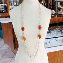 925 Silver Necklace, Carnelian Oval Crimped, Double Chain, 110 cm long image 1