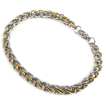 "Stainless Steel 2 Tone Silver Gold Color Wheat Chain Men Bracelet 6mm 11"" - $13.50"