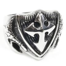 Stainless Steel Cross Shield Man Boy Biker Ring US Size 8 - $12.99