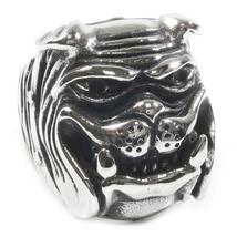 Stainless Steel Cartoon Smiling Bulldog Biker Ring US Size 7 - $12.99