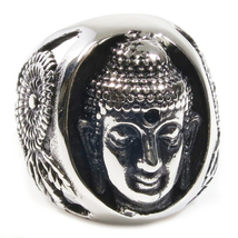 Stainless Steel Calm Buddha Men Ring US Size 12 - $12.99