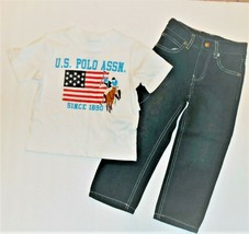 U.S. Polo Assn. Infant Boys 2pc Outfit Short Sleeves Jeans Size 12M NWT - $15.51