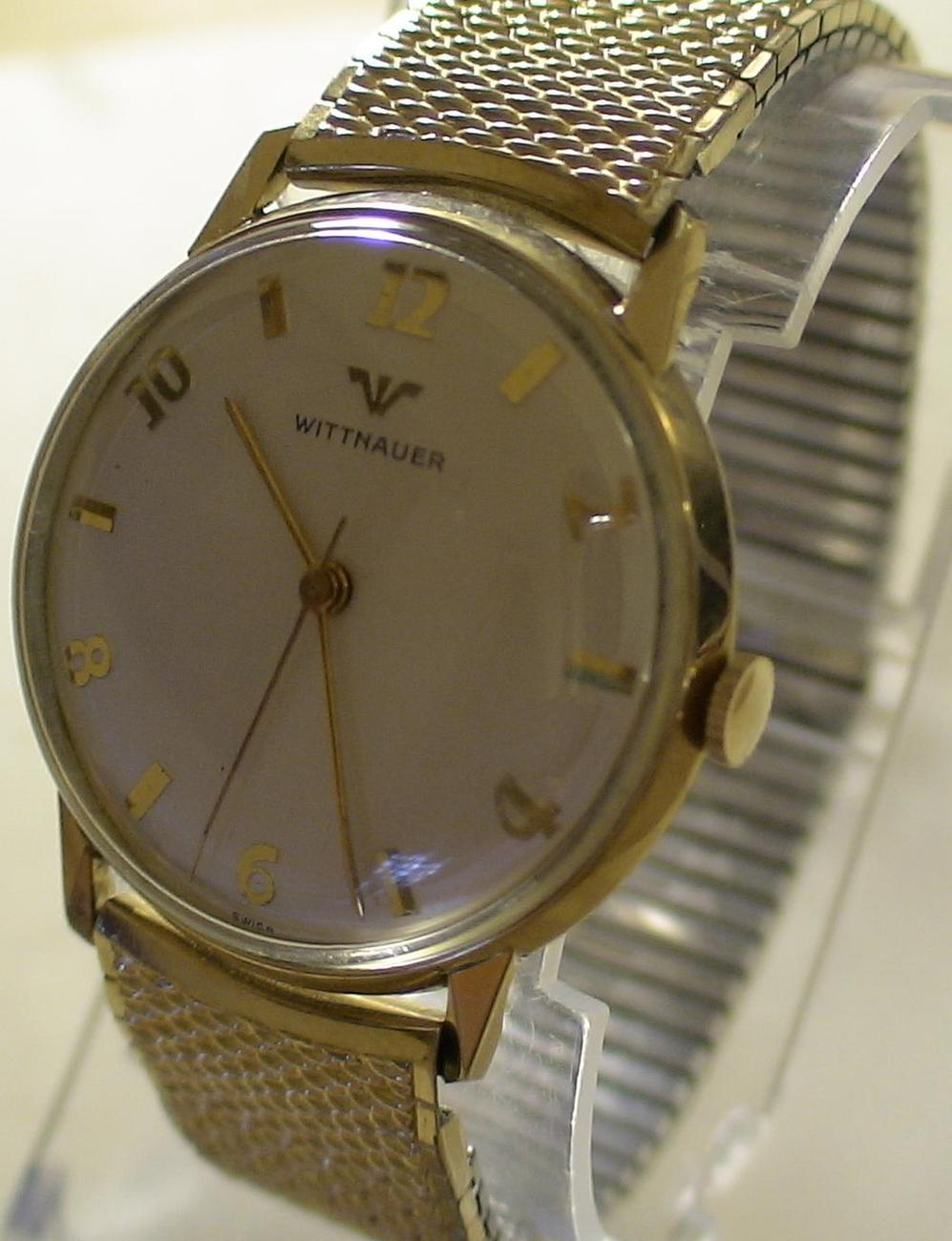 1960 wittnauer mens swiss made 10k gold with box