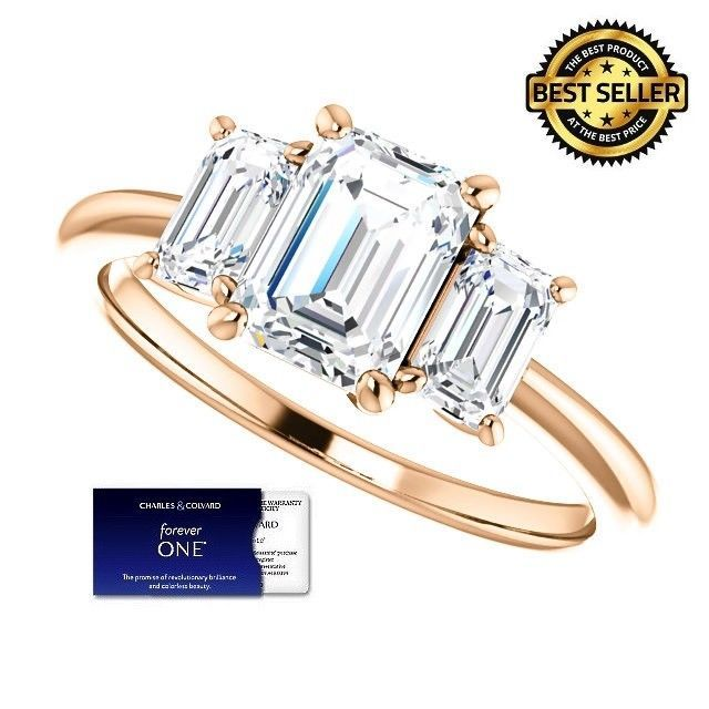2.00 Carat EmeraldCut Moissanite ForeverOne Diamond Ring 14KGold Charles&Colvard
