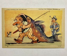 Vintage Ray Walter Comic Postcard Linen Fish Comics Get This One Home Wis - $19.00