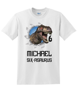 T-Rex Dinosaur Birthday Shirt, Personalized with Name and Age - $14.99