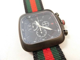 Gucci Quartz Coupe Black Dial Chronograph Mens Watch Stainless ya131202 New - $950.88