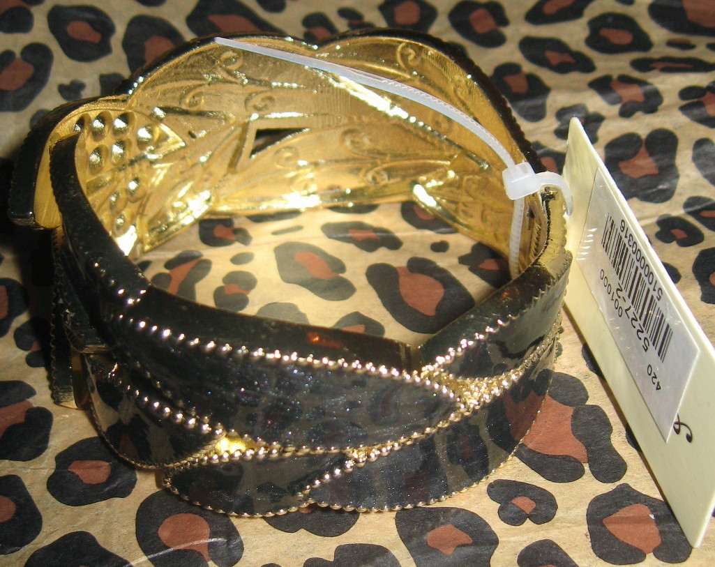 BEAUTIFUL BLACK ENAMEL CLEAR CRYSTAL HINGED CUFF BRACELET NEW WITH TAGS!