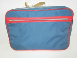 "Vtg Bantam Travelware Boys Soft Suitcase Carry-on w/ keys Blue Red 17x12""  - $18.49"