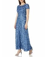 Alex Evenings Women's Crew Neck Long A-Line Rosette Dress (Blue, 18) - $246.51