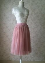 DUSTY PINK Tulle Midi Skirt Women High Waist Dusty Pink Tutu Midi Cocktail Skirt image 3