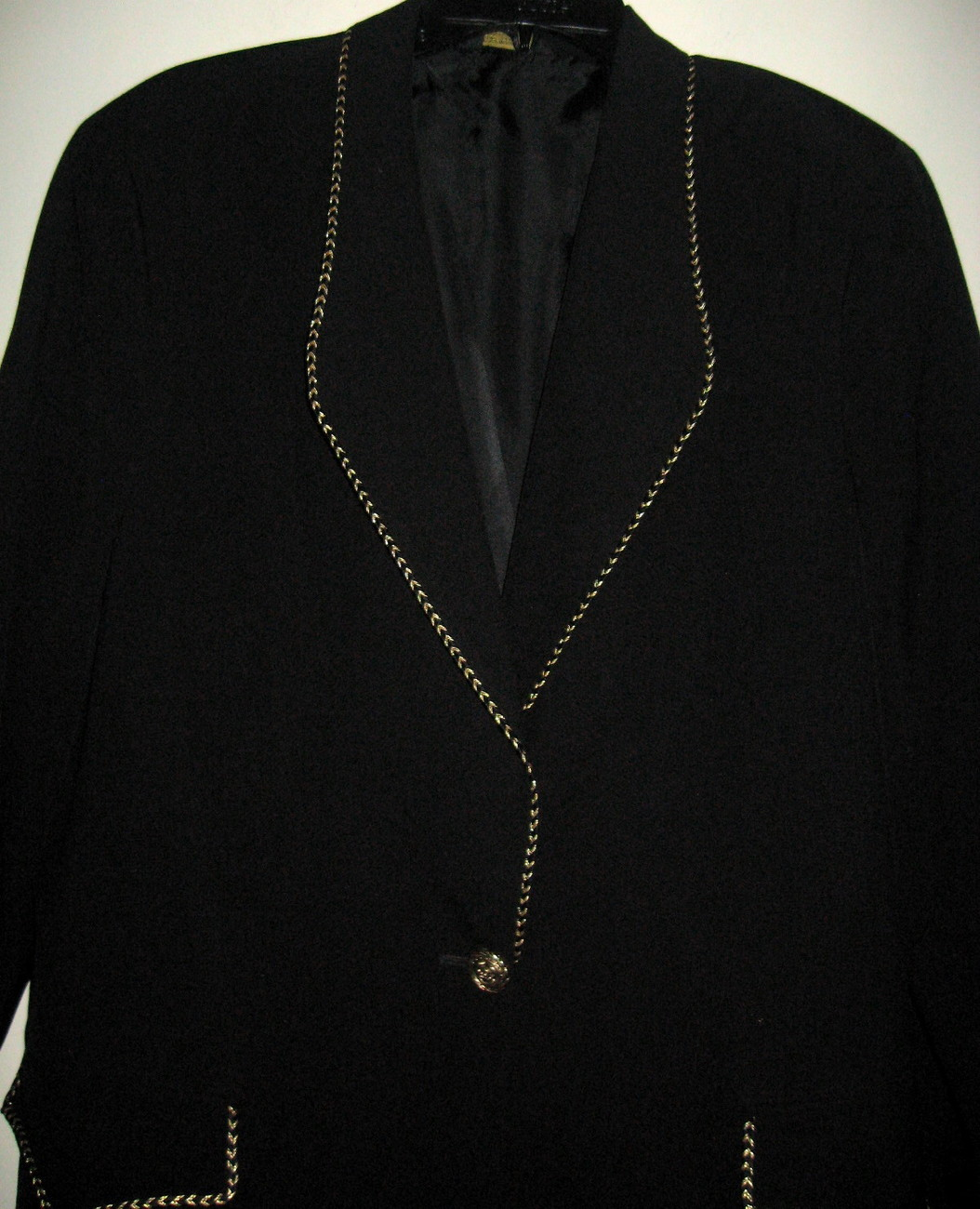 Custom Made Gorgeous Women's Black Blazer with Gold Buttons & Fancy Trim sz 16T