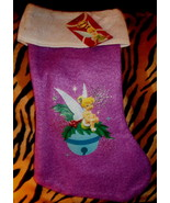 """DISNEY TINKER BELL   15""""  CHRISTMAS STOCKING PURPLE AND WHITE, NEW! - $3.99"""