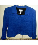 *DRAPER'S & DAMON'S* Blue Tapestry Style Cotton/Poly Cropped Coat Jacket PL - $27.13