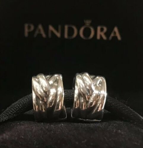 PANDORA BRAIDED CLIPS STERLING SILVER PANDORA CLIPS SET RETIRED PANDORA CHARMS