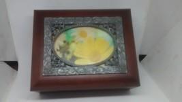 Vintage Wood Hinged Trinket Keepsake Souvenir Jewelry Box - $5.93