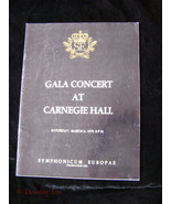 Gala Concert At Carnegie Hall Program March 3, 1979 15th Anniversary - $14.99