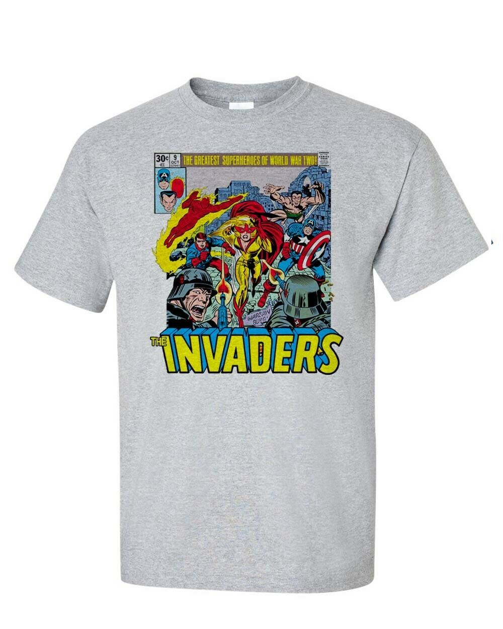 The Invaders T-Shirt Spit Fire Bucky Sub Mariner 1970s comic books graphic tee