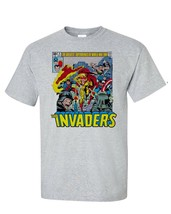 The Invaders T-Shirt Spit Fire Bucky Sub Mariner 1970s comic books graphic tee image 1