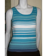 End on End Knitwear AQUA, WHITE & MEDIUM BLUE Sweater Tank Top SZ LARGE - $9.99