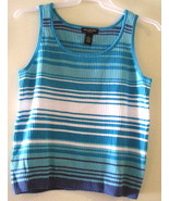 End on End Knitwear AQUA, WHITE & MEDIUM BLUE Sweater Tank Top SZ XL - $9.99
