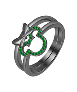 0.20ct Round Cut Emerald 14K Black Gold Over 925 Silver Mickey Mouse Rin... - $99.99