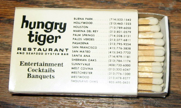 Hungry Tiger Restaurant Vintage Matchbox Southern California NEVER USED!  MINT!