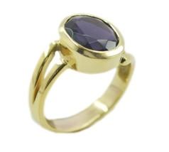 dishy Amethyst CZ Gold Plated Purple Ring handmade US K,M,O,Q - $6.99