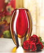Red and Gold Decorative Glass Flower Vase - $29.00