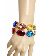 "1.5"" W  Multicolor Crystals Statement Evening Bracelet, Pageant, Drag Queen - $28.45"