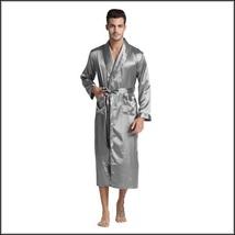 Black Gray And Wine Men's Long Sleeve Belt Tie Faux Silk Satin Bathrobe  image 4