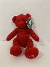 Russ Berrie small red teddy plush Bears of the Month July ruby beanie beanbag  - $6.92