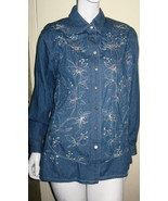 LADIES 100% COTTON BLUE DENIM EMBELLISHED BLOUSE BY KORET CITY BLUES, SI... - $14.99
