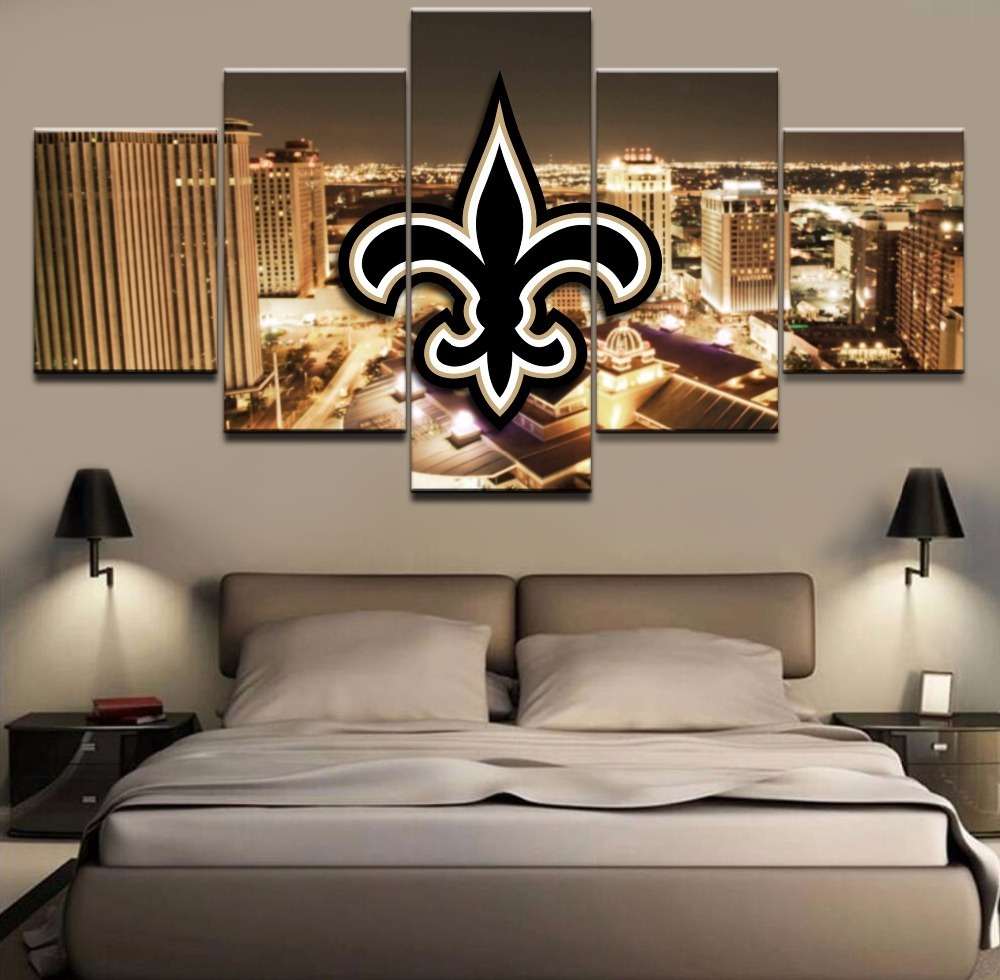 Home Decor New Orleans: Framed 5 Pcs New Orleans Saints Logo Painting Printed