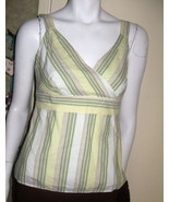 LADIES COTTON TOP BY GAP, SIZE SMALL, LIGHT GREEN, GREEN & BEIGE SLIM ST... - $7.99